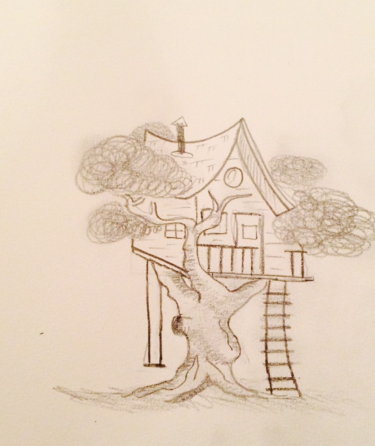 how to draw a complicated treehouse